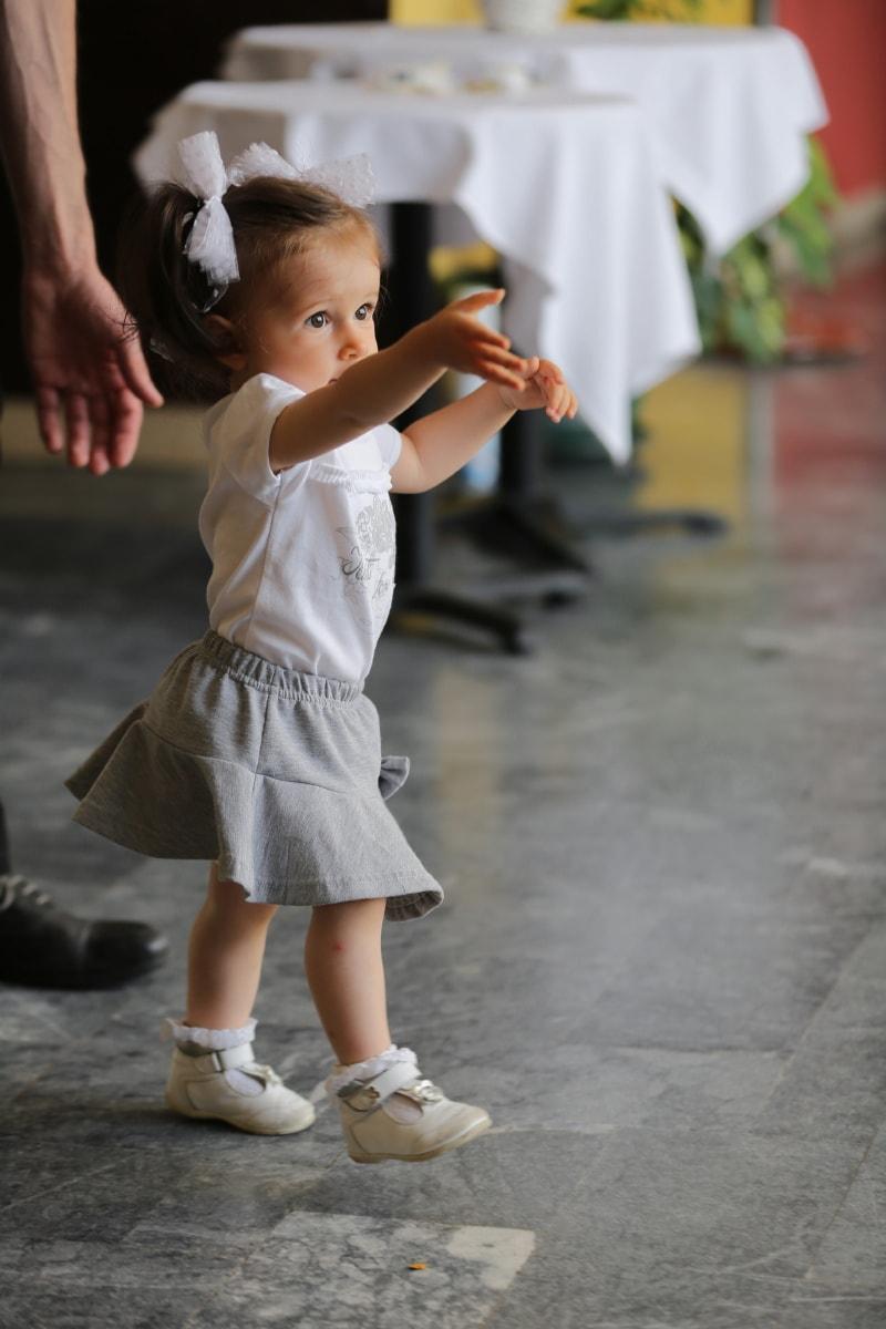 toddler, baby, girl, walking, adorable, skirt, dress, daughter, child, kid