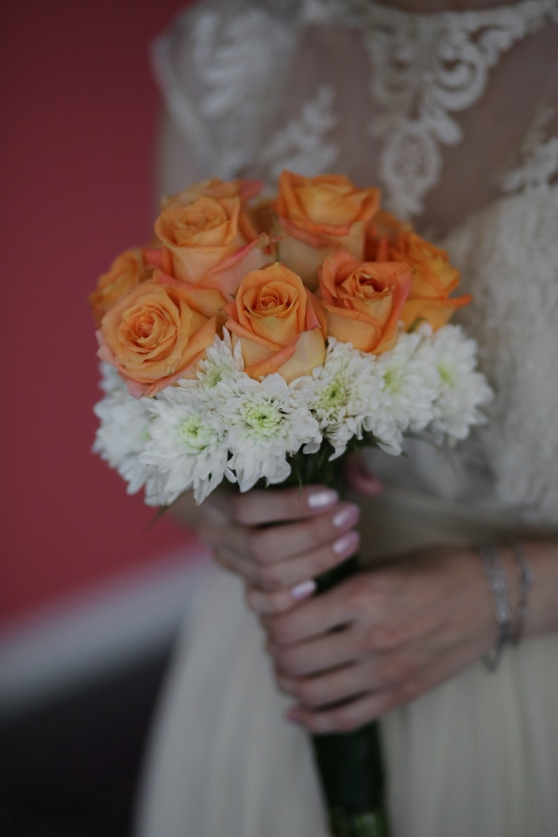 wedding dress, wedding bouquet, roses, orange yellow, bouquet, bride, decoration, wedding, flower, love