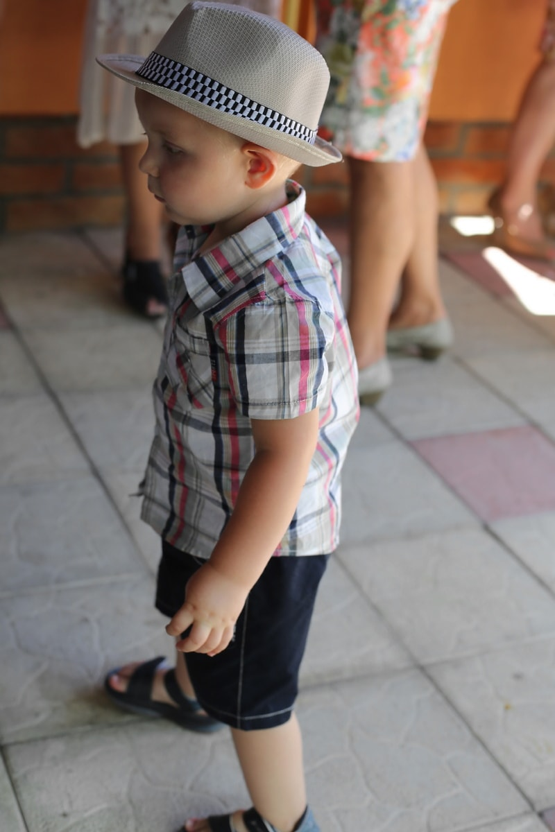 Baby, Junge, Hut, untergeordnete, Menschen, Porträt, niedlich, Mode, Sohn, Urban