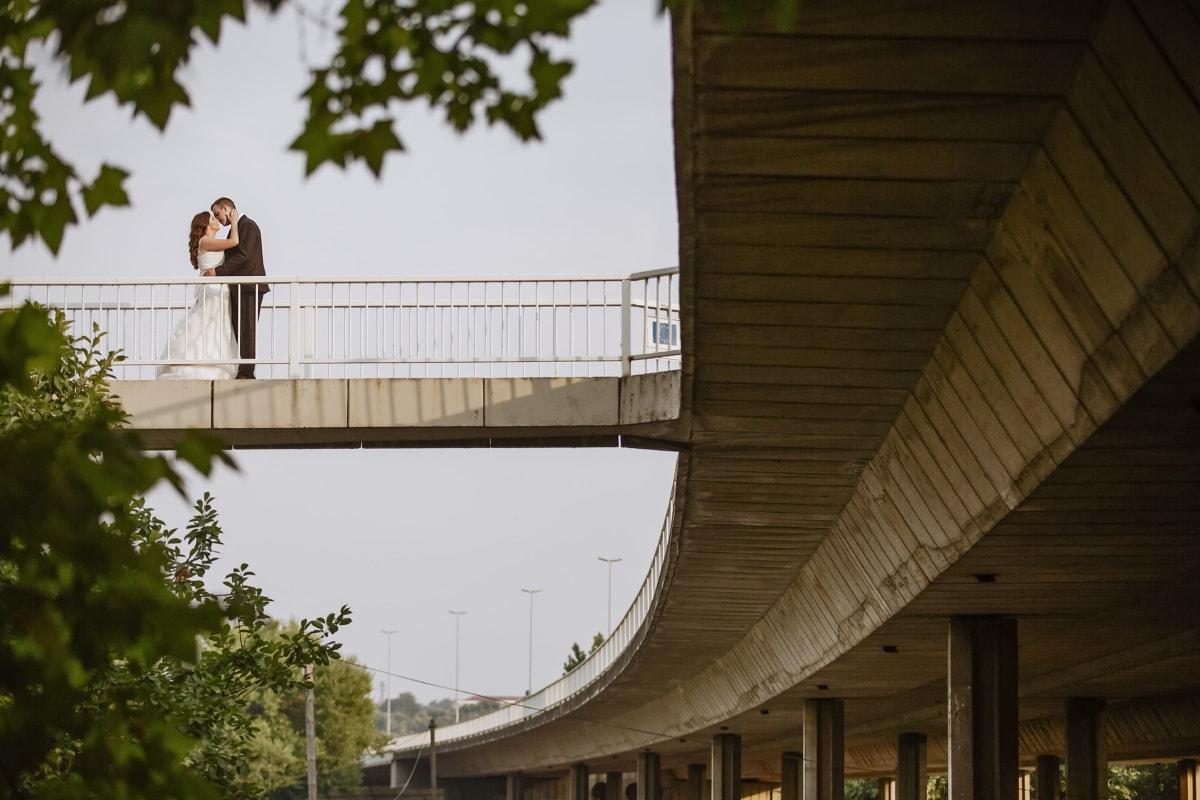 amour, gentilhomme, baiser, Dame, pont, étreindre, architecture, Création de, structure, Ville