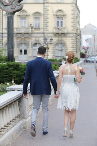 bride, downtown, groom, wedding, love, couple, woman, street, portrait, people