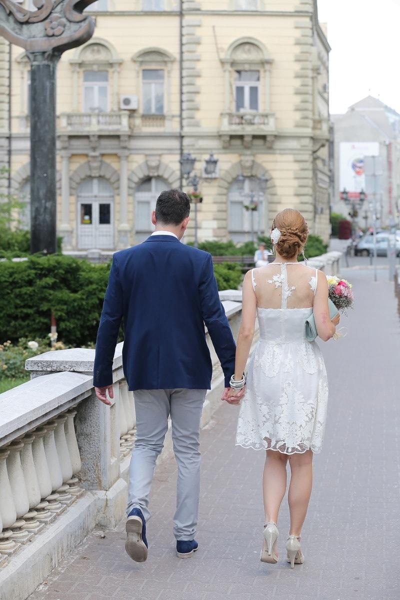 Braut, Innenstadt, Bräutigam, Hochzeit, Liebe, paar, Frau, Straße, Porträt, Menschen