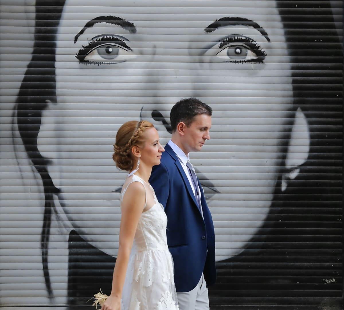 graffiti, portrait, groom, wedding dress, wedding, bride, dress, suit, tie, woman