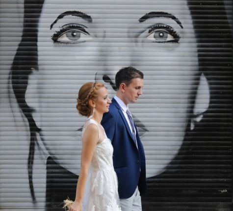 graffiti, portrait, groom, wedding dress, wedding, bride, dress, suit, tie, woman