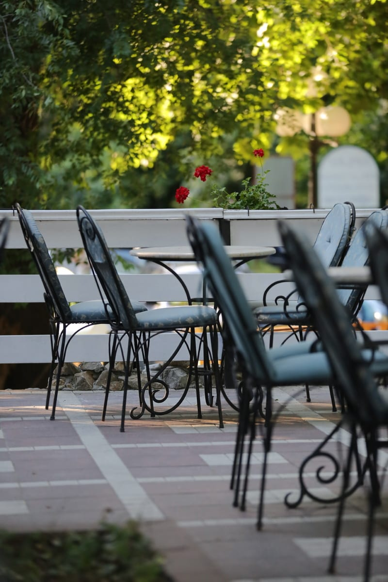 chaises, Metal, extérieur, jardin, siège, banc, meubles, chaise, patio, table
