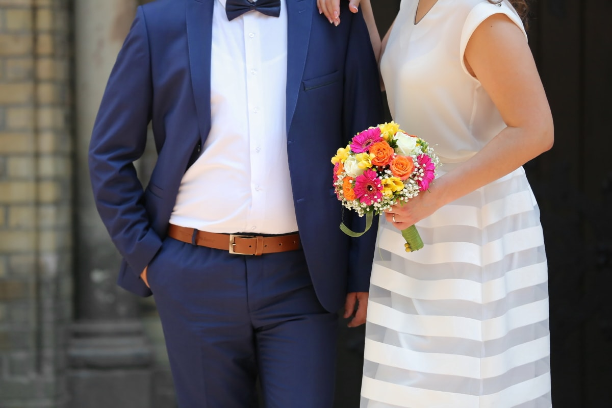 gentleman, bowtie, bride, groom, wedding dress, wedding bouquet, suit, garment, man, clothing