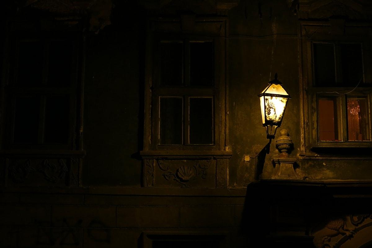 light, lamp, facade, decay, windows, illumination, darkness, lantern, architecture, altar