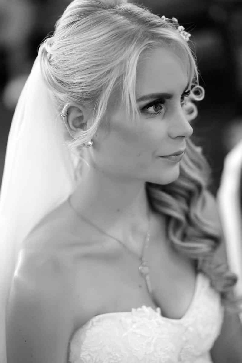 veil, bride, pretty girl, gorgeous, blonde hair, monochrome, blond, wedding, pretty, fashion