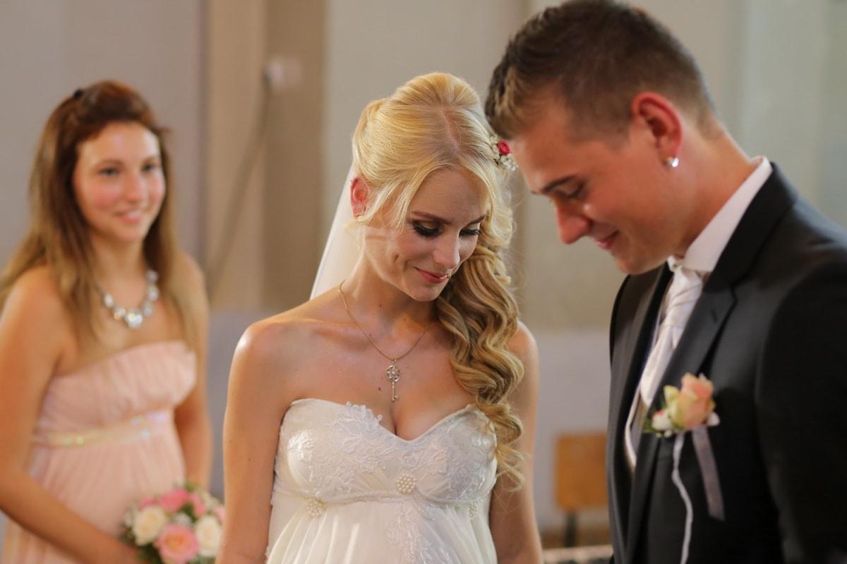 Jolie fille, magnifique, cheveux blonds, jeune marié, la mariée, mariage, petite amie, femme, amour, mode