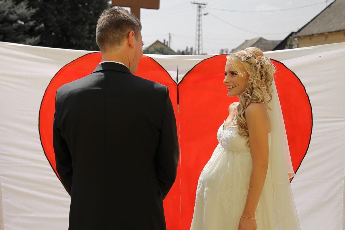 coeur, la mariée, enceinte, Smile, jeune marié, grossesse, magnifique, Jolie fille, Dame, femme