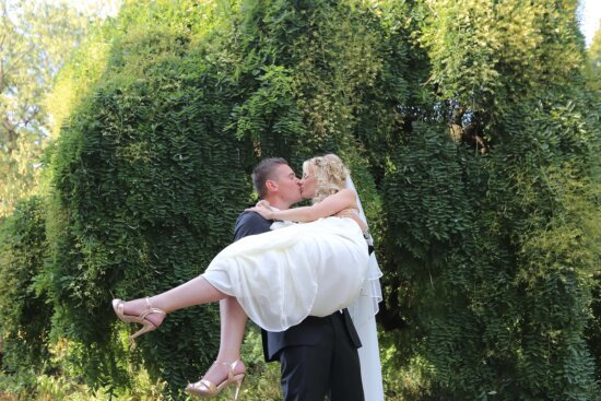 groom, holding, bride, wedding, people, park, love, outdoors, nature, woman