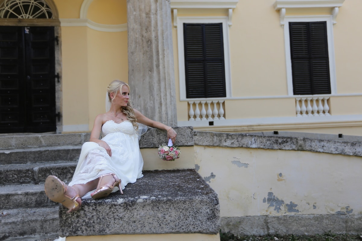 bride, blonde hair, laying, wedding dress, stairway, doorway, front porch, wedding, woman, people