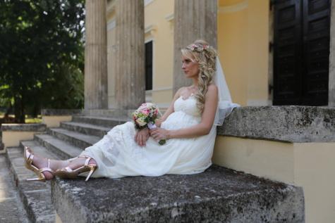 беременные, невеста, позирует, милая девушка, великолепный, платье, женщина, букет, брак, Свадьба