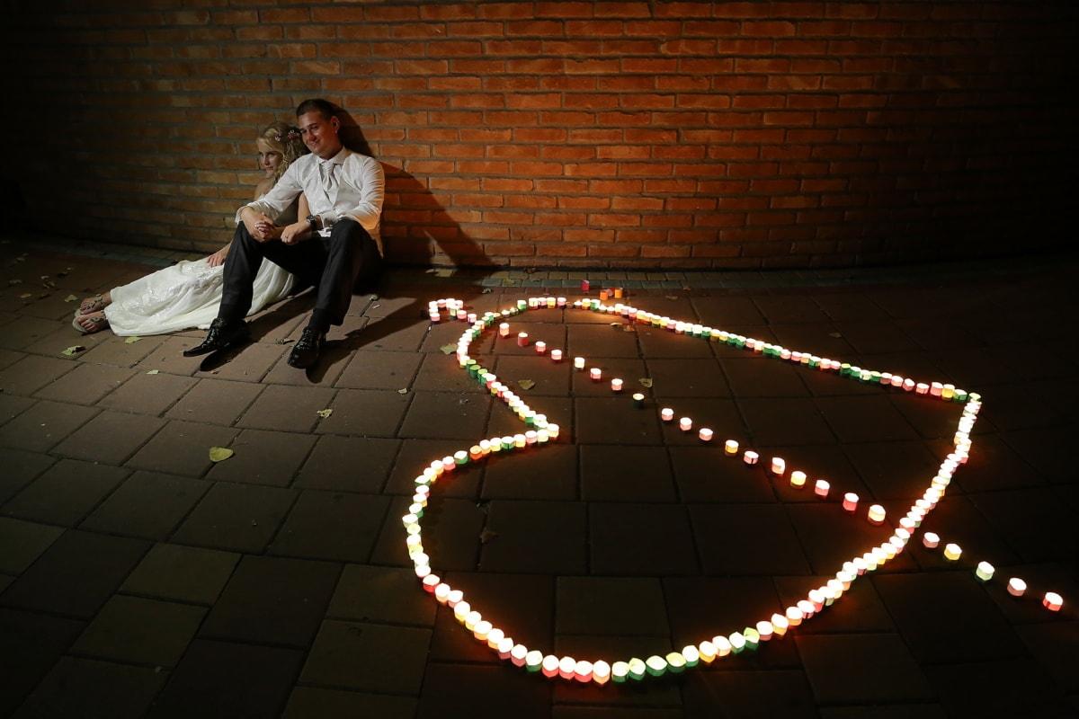 boyfriend, romance, heart, love, girlfriend, together, night, pavement, candlelight, candles