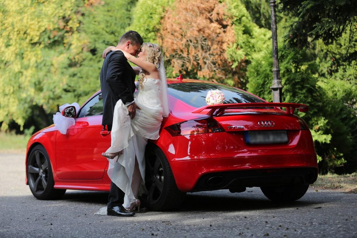 profesionální, svatba, fotografie, péče, kupé, Audi, sportovní auto, nevěsta, ženich, kabriolet