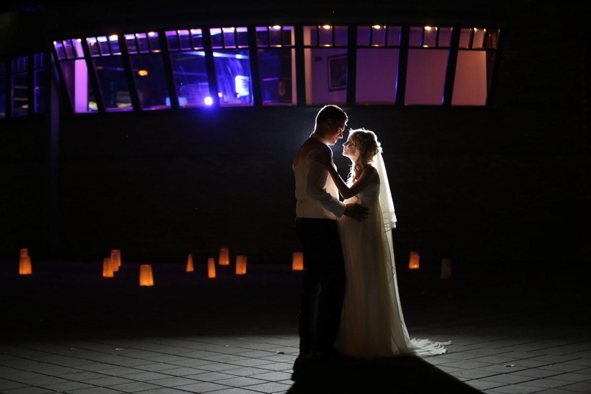 la mariée, Spotlight, jeune marié, danse, nuit, romance, amour, mariage, jeune fille, lumière