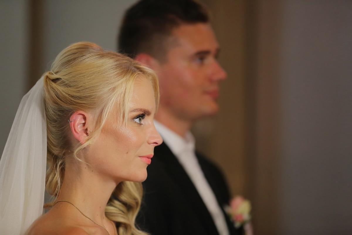blonde, veil, hairstyle, wedding dress, side view, portrait, groom, bride, profile, people