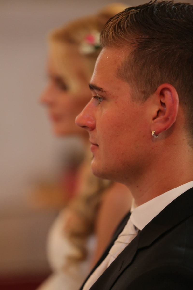man, groom, earrings, side view, woman, suit, confident, wedding, portrait, person