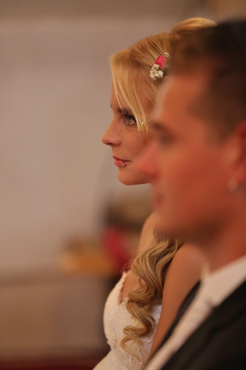 blonde Haare, Braut, Schmuck, Fokus, Kopf, Person, Porträt, ziemlich, attraktiv, Menschen