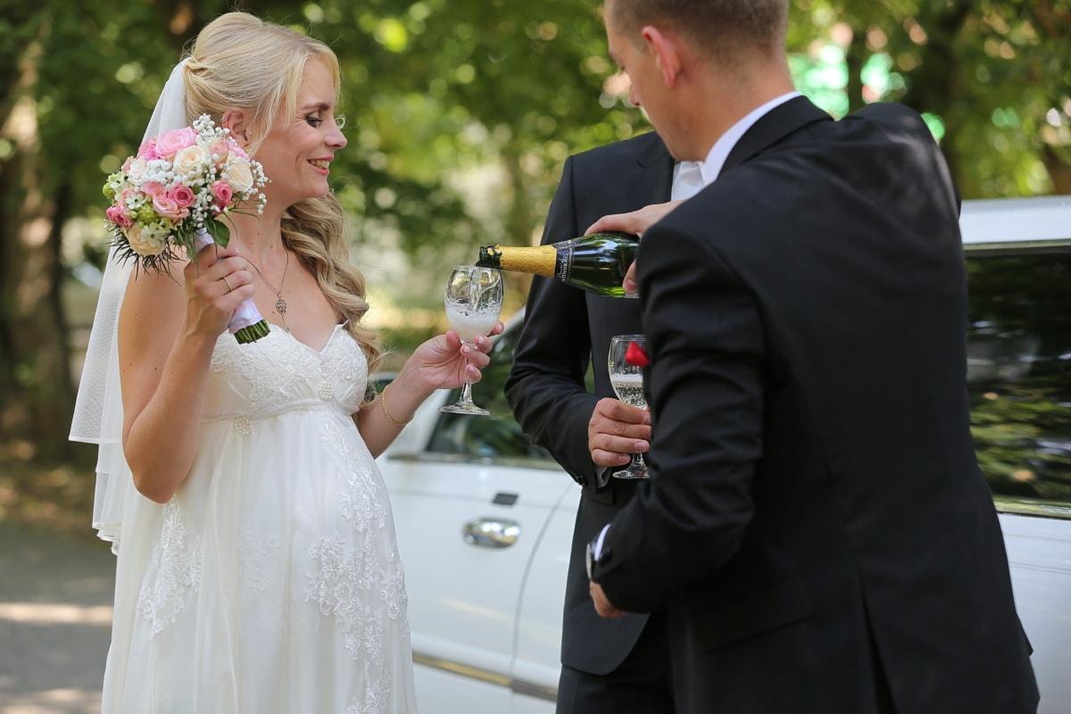Pate, Braut, Bräutigam, Feier, Champagner, Hochzeit, Liebe, paar, Kleid, verheiratet
