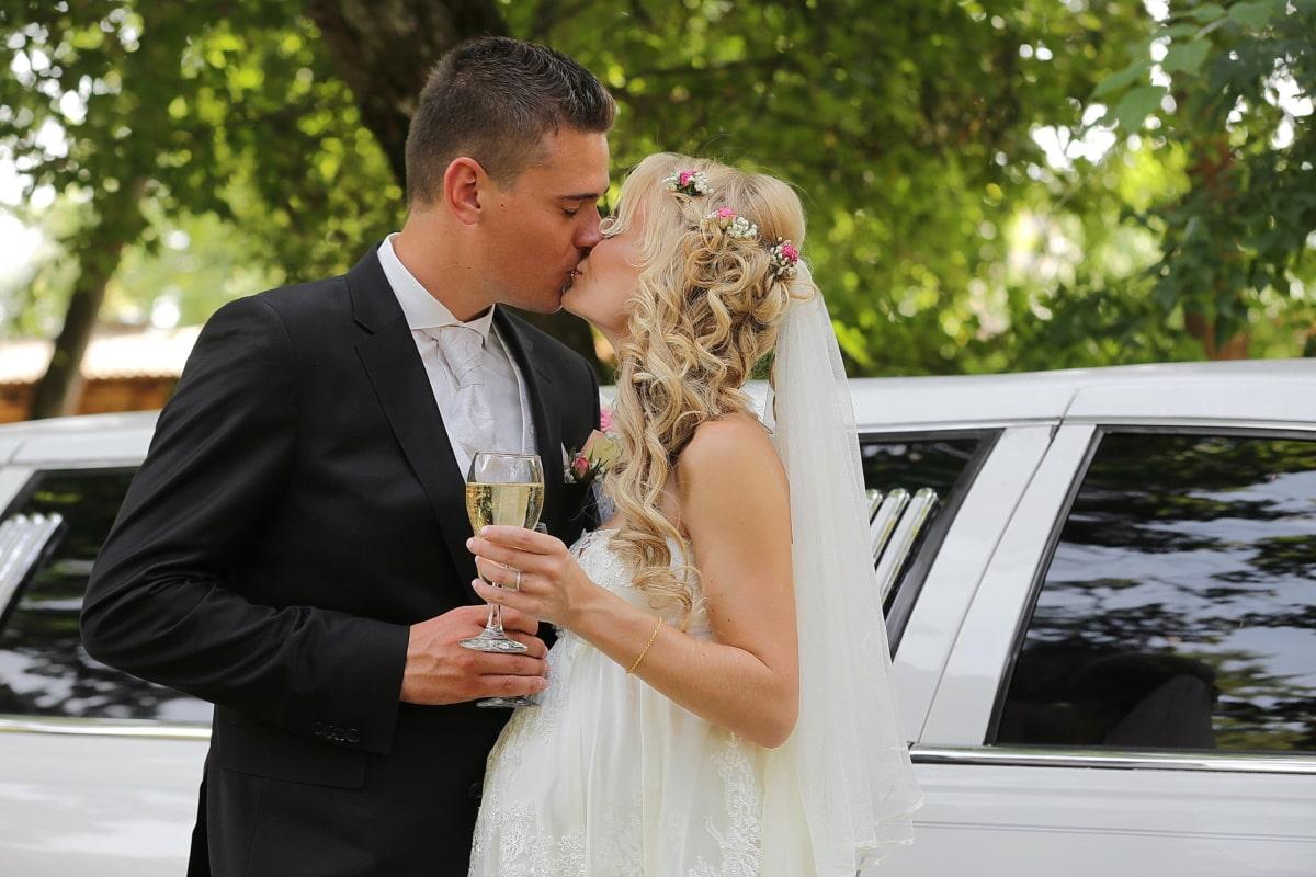 pregnant, kiss, young woman, drink, bride, champagne, groom, wedding dress, wedding, sedan