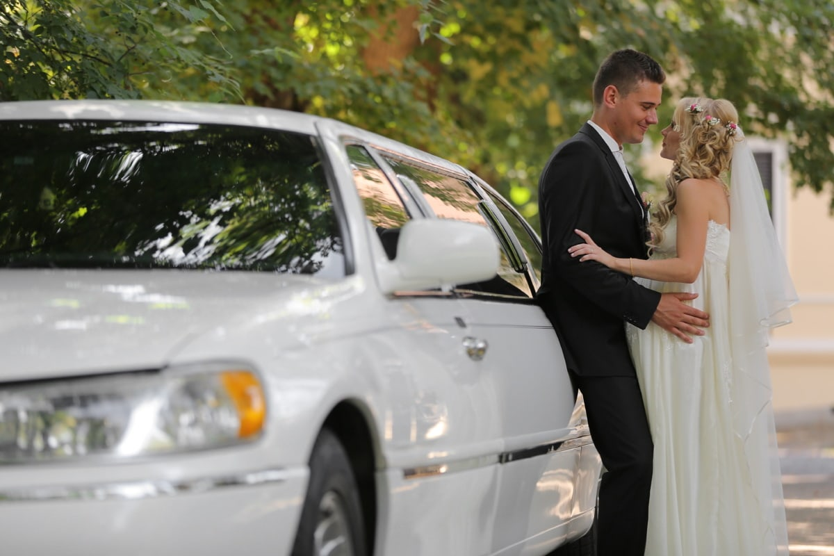 blanc, sedan, mariage, la mariée, jeune marié, automobile, transport, voiture, amour, femme
