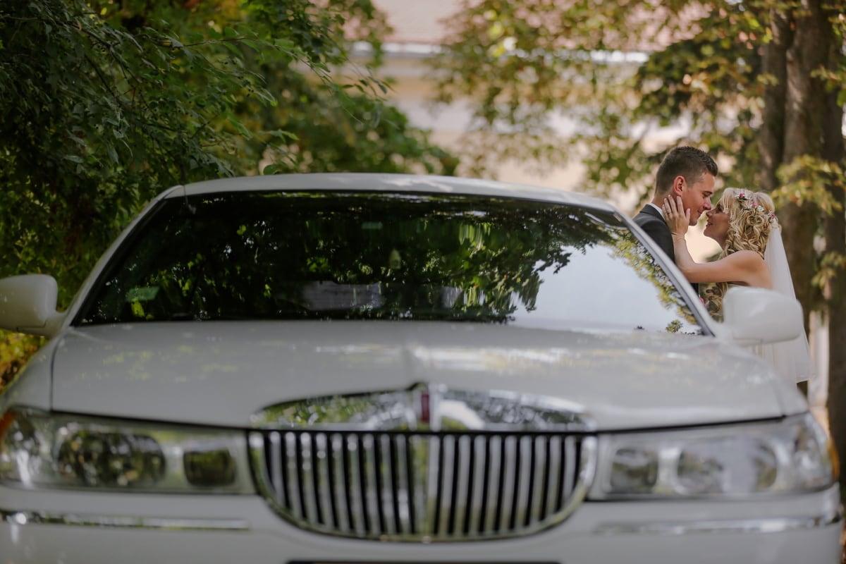 Pocałunek, Panna Młoda, pan młody, samochodu, Limuzyna, transport, samochodowe, pojazd, transportu, dysk