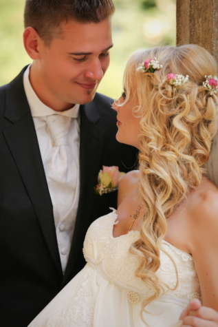 bride, gorgeous, blonde hair, groom, affection, woman, wedding, love, romance, fashion