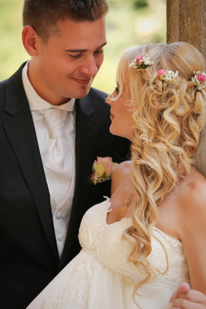 bride, gorgeous, blonde hair, groom, affection, woman, wedding, love, romance, fashion