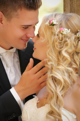 girlfriend, boyfriend, pretty girl, photo model, kiss, blonde hair, gentleman, suit, woman, romance