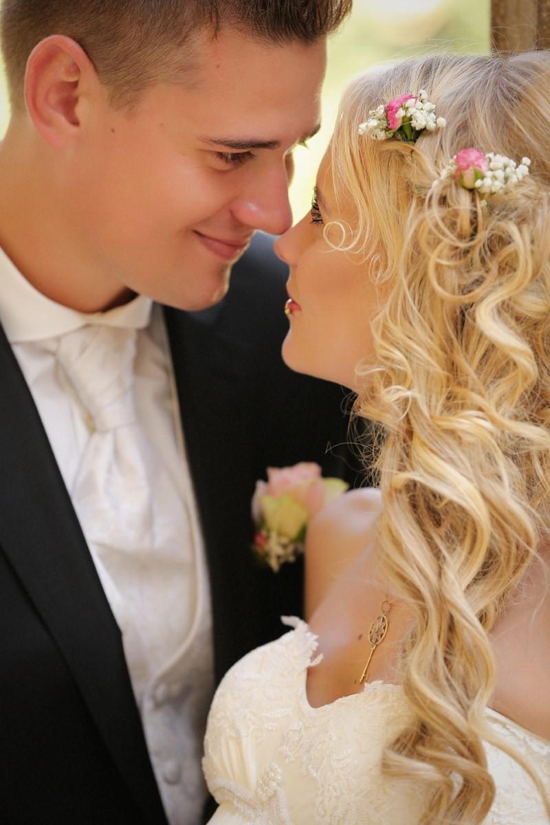 Dame, Gentleman, Glanz, Kuss, Romantik, Bräutigam, Frau, Hochzeit, Braut, Liebe