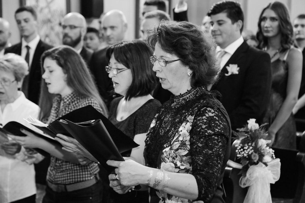 chorus singing, singer, choir, group, woman, people, man, many, music, ceremony