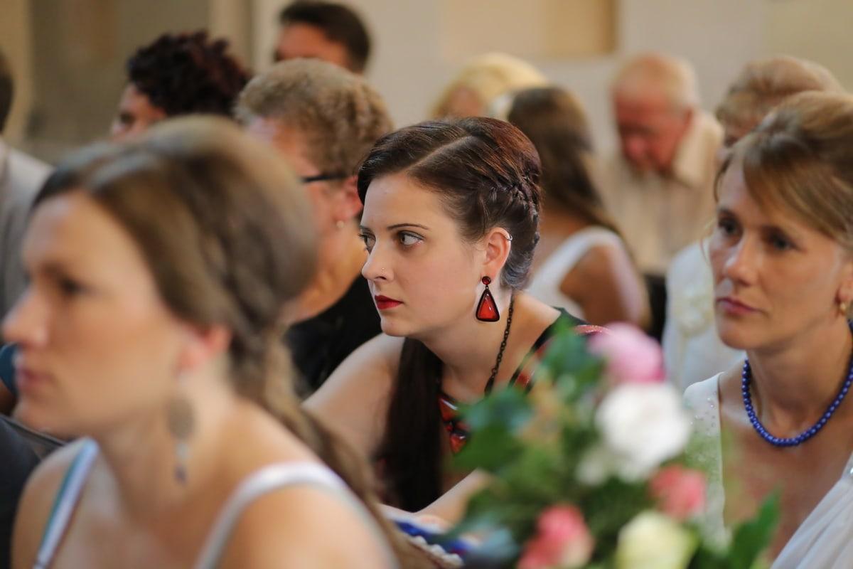 pretty girl, brunette, necklace, earrings, hairstyle, lips, head, spectator, lipstick, audience
