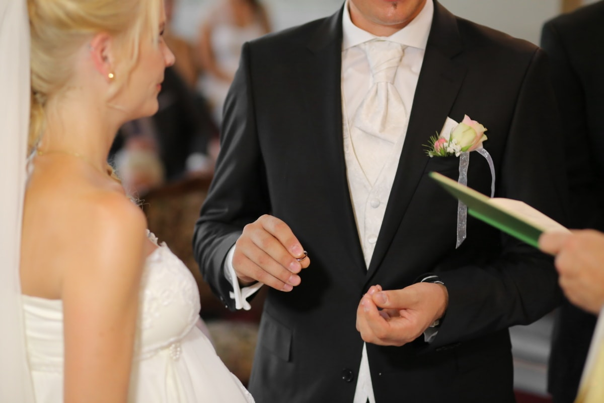 wedding, groom, gentleman, wedding ring, blonde hair, bride, partners, business, woman, suit