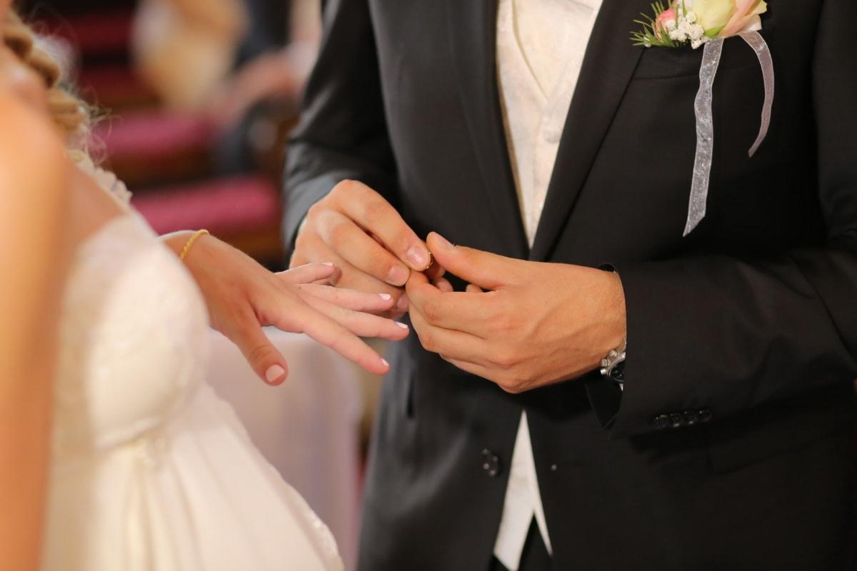 hands, wedding, groom, wedding ring, suit, love, engagement, woman, romance, bride