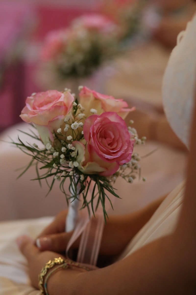 Hochzeit, Hochzeitsstrauß, Hochzeitskleid, Pastell, Rosa, Braut, Anordnung, stieg, Blumenstrauß, Blume