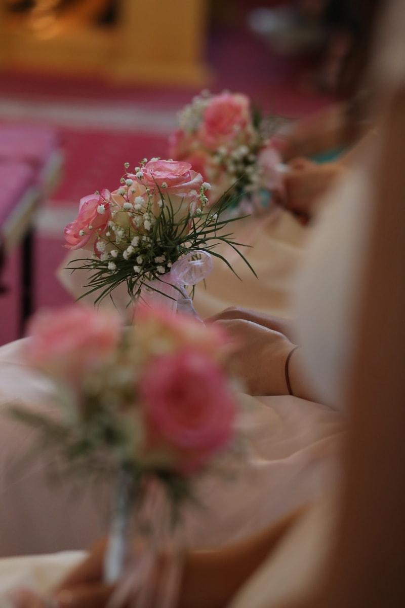mariage, bouquet de mariage, bouquet, rosâtre, mains, assis, fleur, arrangement, la mariée, engagement