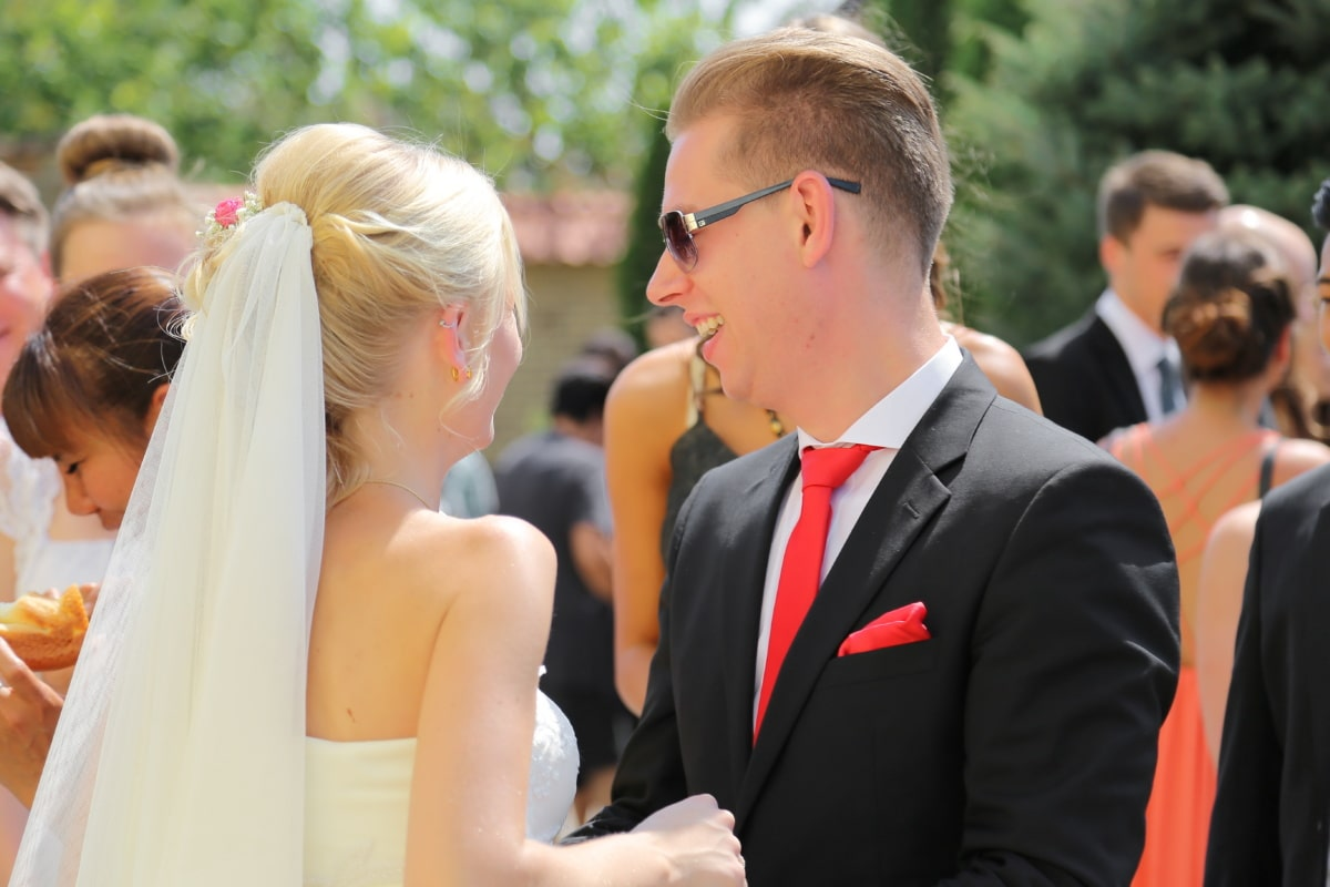 bride, businessman, fashion, blonde hair, red ie, suit, wedding, wedding dress, corporate, woman