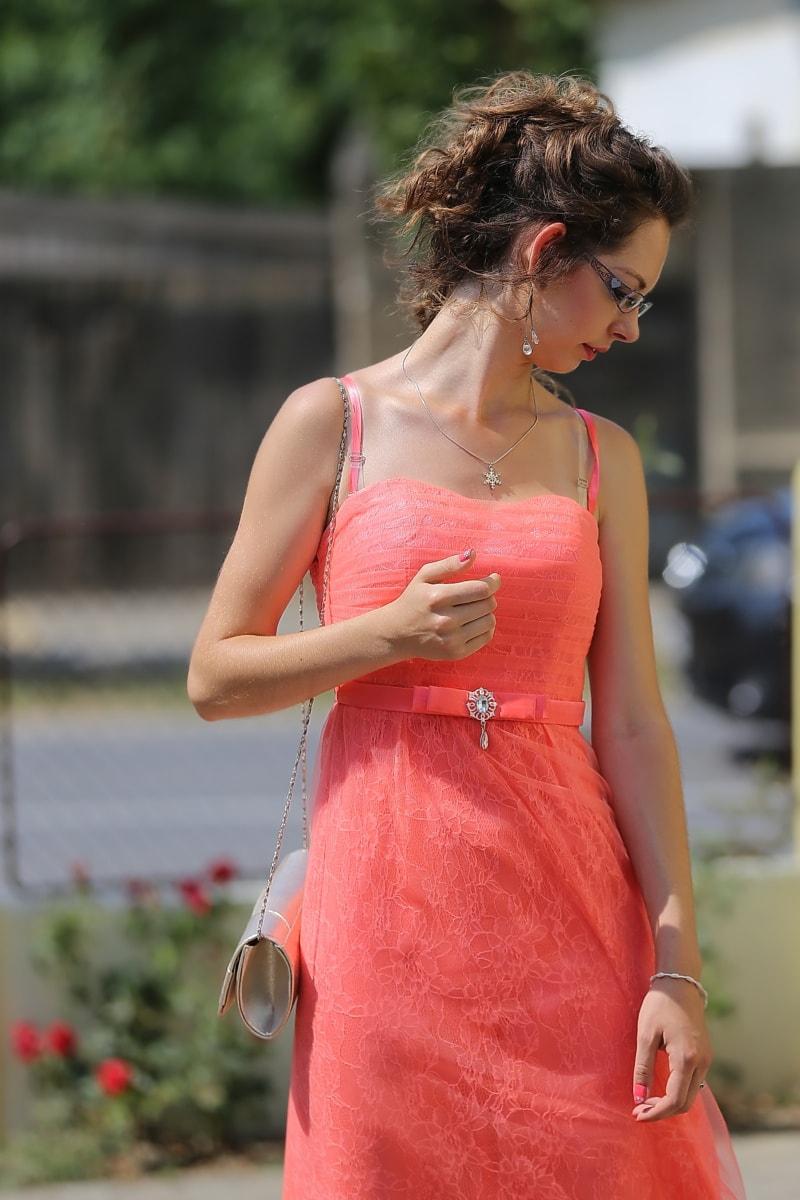 pink, dress, gorgeous, pretty girl, handbag, glamour, hairstyle, woman, fashion, summer