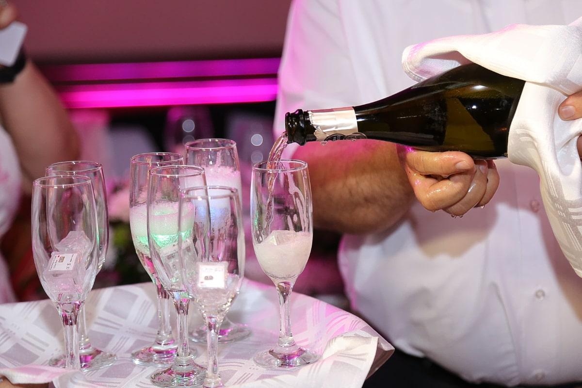 šampaňské, výročí, koktejl, bílé víno, barman, strana, oslava, sklo, nápoj, víno