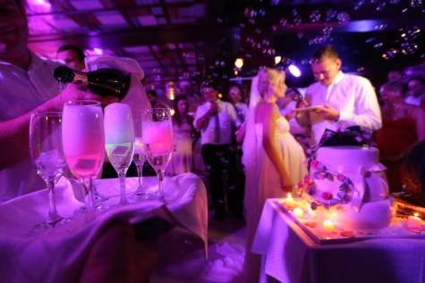 champagne, party, nightclub, wedding venue, nightlife, wedding, groom, bride, celebration, music, performance