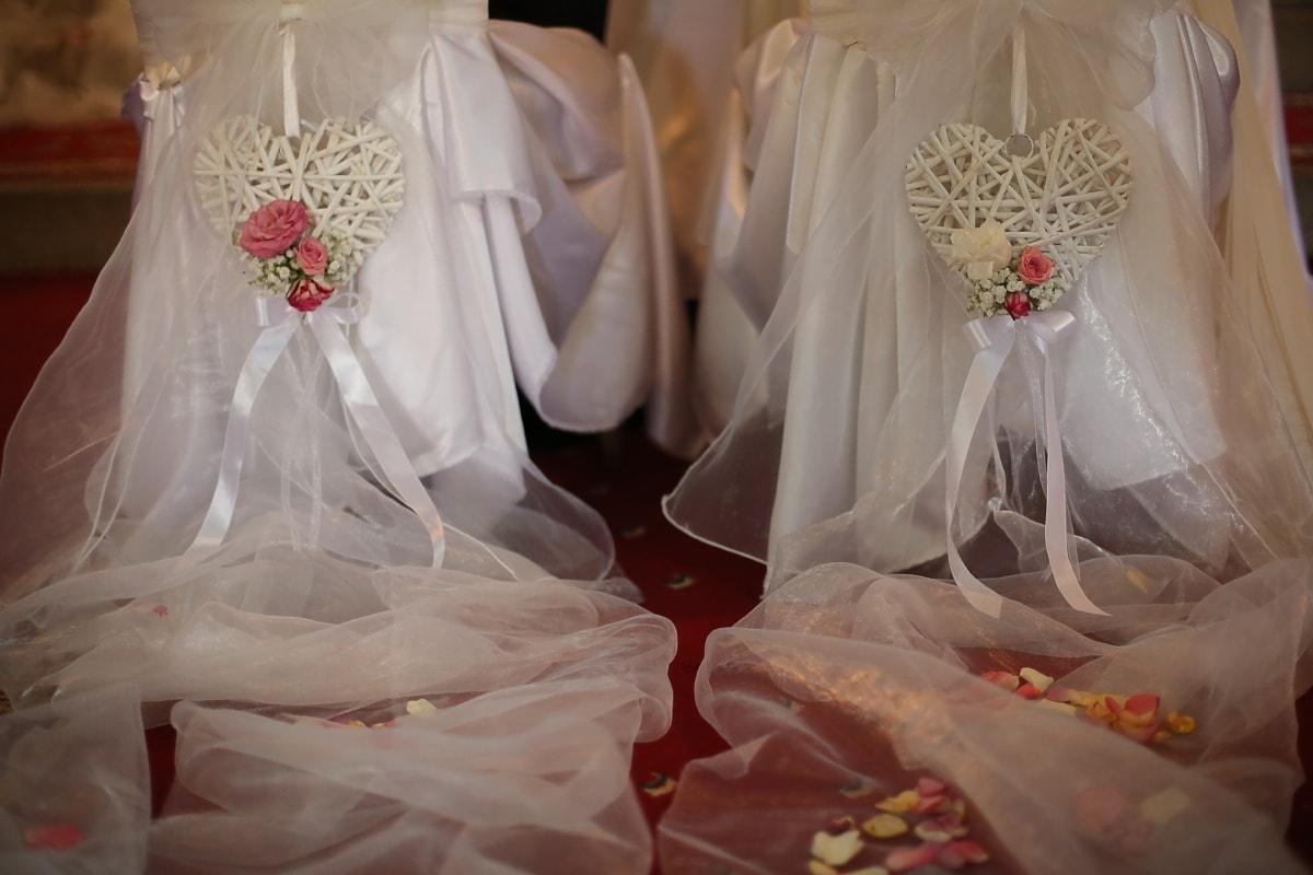 Wohnzimmer, Hochzeitskleid, romantische, Dekoration, Blütenblätter, Herzen, handgefertigte, Hochzeit, Kleid, Schleier
