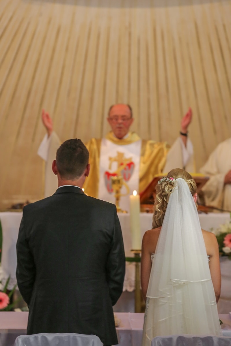 priest, catholic, wedding, religion, bride, groom, woman, people, ceremony, love