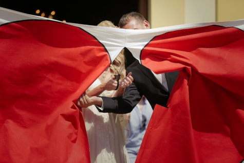 canvas, bride, groom, scissors, heart, togetherness, tradition, outerwear, gown, vestment