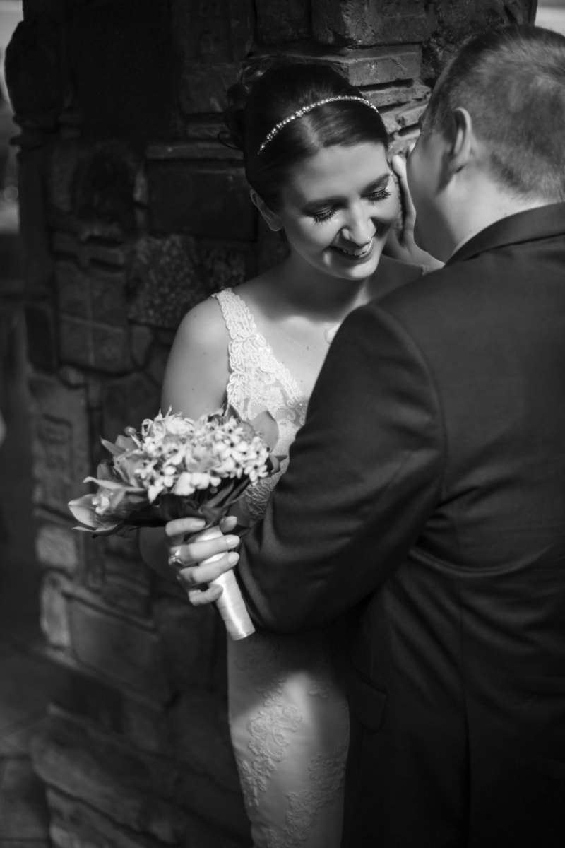 smiling, pretty girl, hugging, embrace, people, flowers, wedding, bride, bouquet, couple