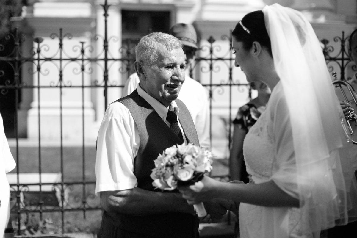 grandfather, elderly, conversation, bride, nostalgia, gentleman, man, couple, person, people