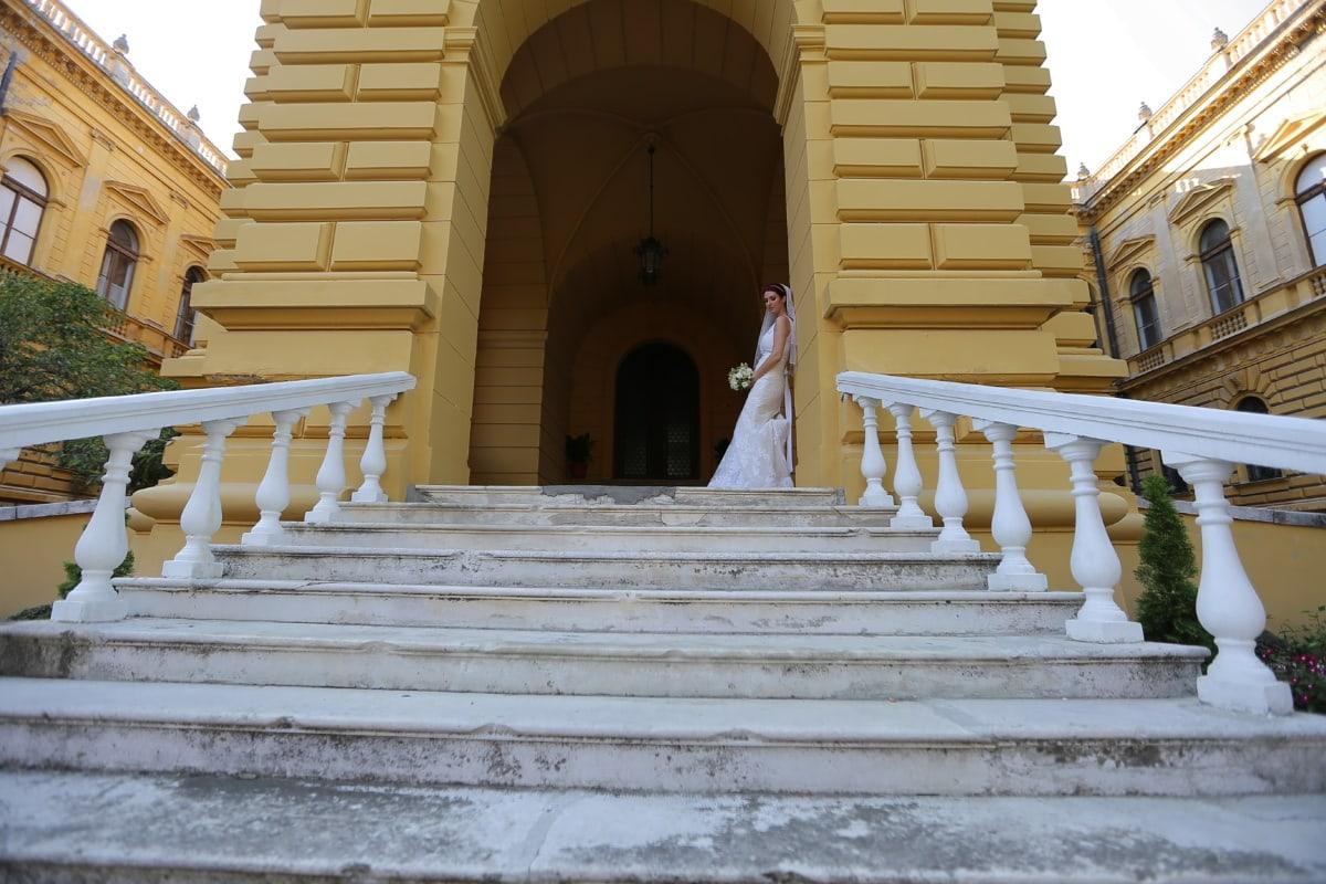 princess, bride, veil, wedding dress, castle, staircase, step, architecture, device, building