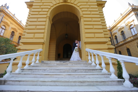 gentleman, castle, bride, kiss, staircase, entrance, front door, front porch, building, step