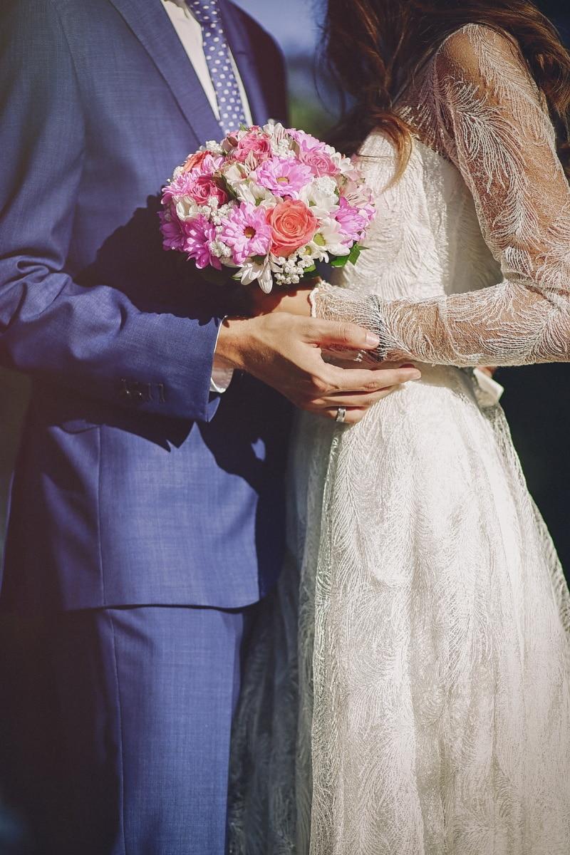 wedding bouquet, wedding dress, wife, husband, marriage, elegance, suit, silk, dress, engagement