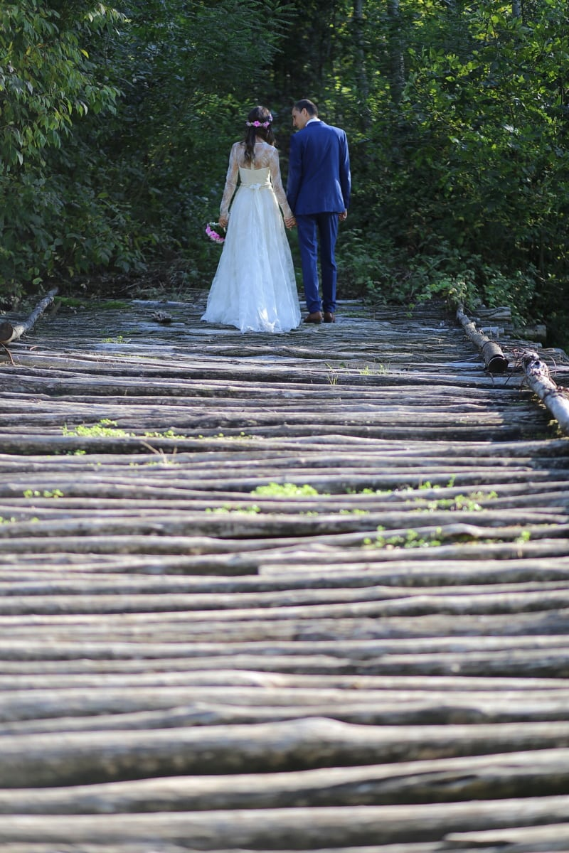 wooden, bridge, walking, groom, bride, wedding dress, wedding bouquet, wedding, nature, people